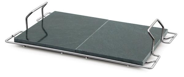 Pizzaplatte Speckstein mit Träger 67 x 38 cm