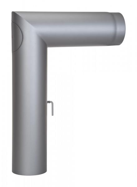 Anschlussrohr Stahl 90° 700 x 500 mm Ø 150 mm hellgrau mit Tür, Drosselklappe