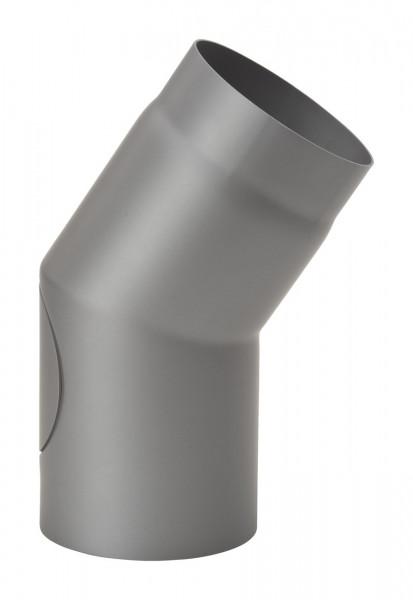 Rauchrohrbogen Stahl 33° Ø 150 mm hellgrau mit Tür