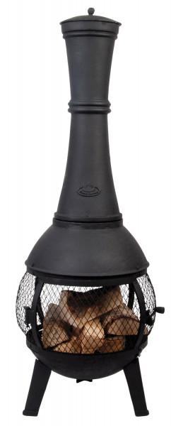 Terrassenofen Guss mit Gitter 120 x Ø 45 cm, schwarz