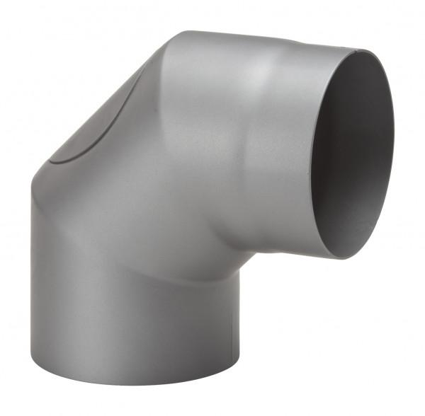 Rauchrohrbogen Stahl 2x 45° hellgrau mit Tür, kurz
