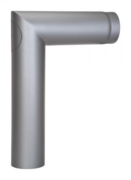 Anschlussrohr Stahl 90° 700 x 500 mm Ø 150 mm hellgrau mit Tür