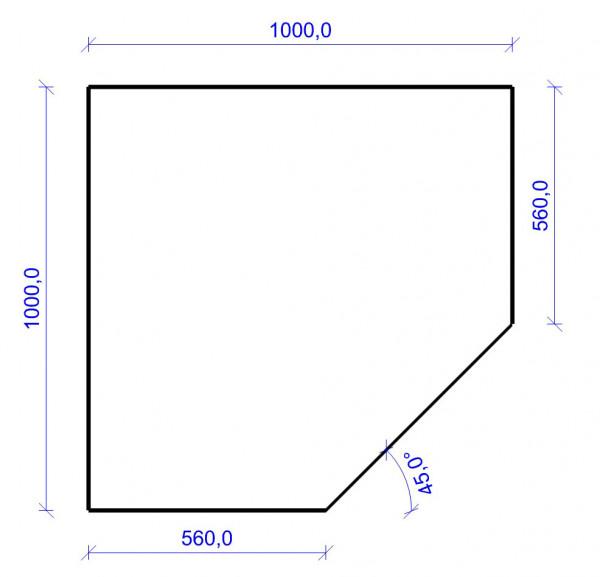 Kamin Bodenplatte, 2 mm Stahl, Fünfeck 1000 x 1000 mm, schwarz