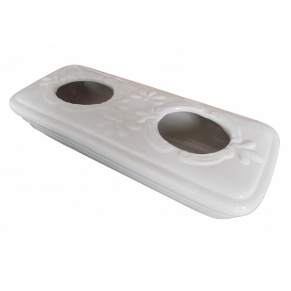 Luftbefeuchter Kamin Keramik eckig, weiß