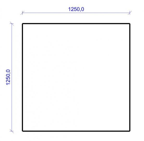 Kamin Bodenplatte, 2 mm Stahl, Quadrat 1250 x 1250 mm, schwarz