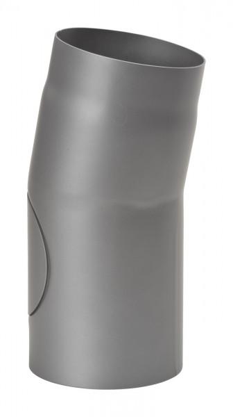 Rauchrohrbogen Stahl 11° Ø 150 mm hellgrau mit Tür