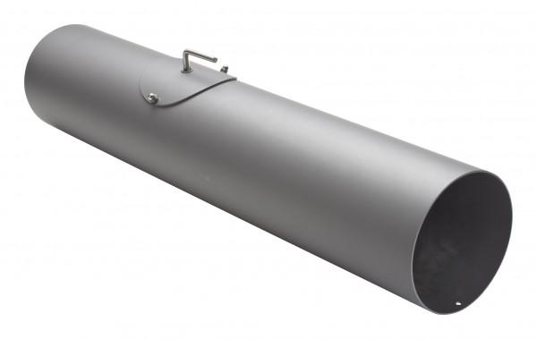 Rauchrohr Stahl 750 mm Ø 150 hellgrau mit Tür, Drosselklappe, Kondensring